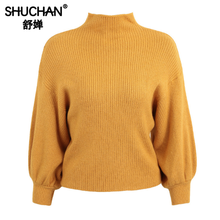 Shuchan 2019 Autumn Winter Turtleneck Knit Sweater Women Loose Lantern Sleeve  Womens Sweaters and Tops Warm Clothes Yellow