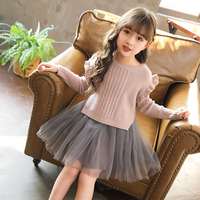 2pcs/set Girls Dress Long Sleeve Princess Floral Little Girls Dresses 3 To 7 Years Knit for Party and Wedding Girl Dress Clothes