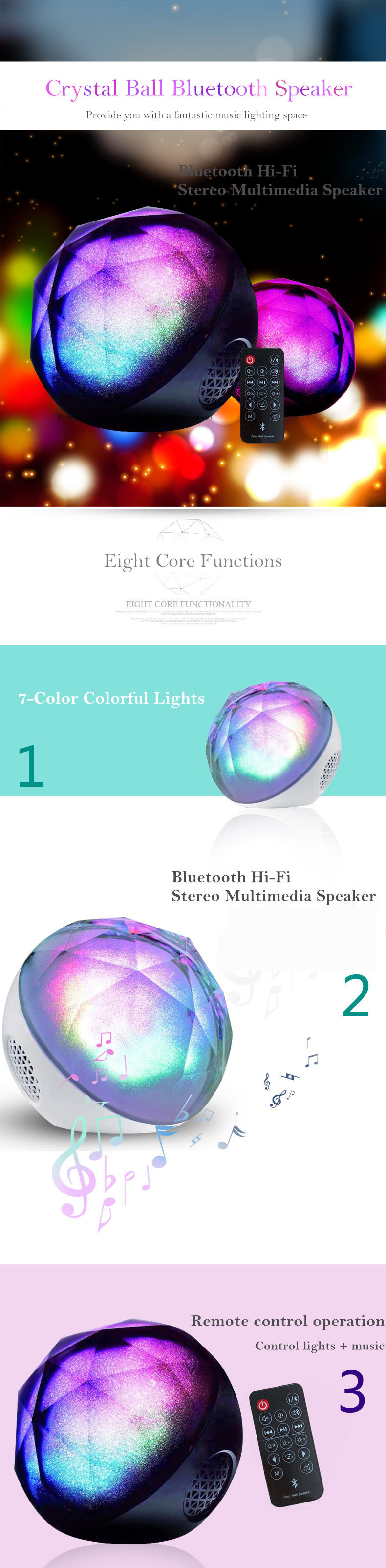 Portable Bluetooth speaker Portable Wireless Loudspeaker LED Light Crystal Ball Bluetooth Speaker Night Light USB MP3 Player04