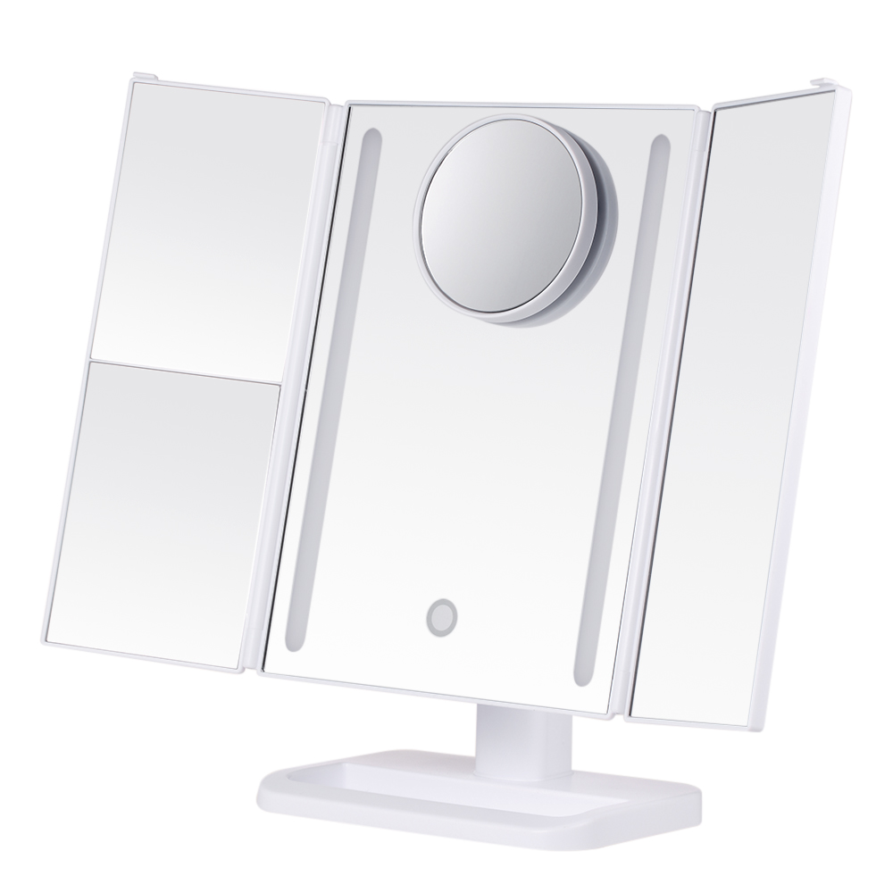 trifold led lighted makeup mirror adjustable stand desk mirror with 2x 3x magnifying with