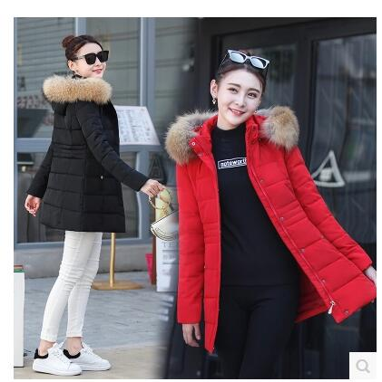 2017 autumn and winter new women's cotton women in the long section of the Korean version of the Slim big fur collar down jacket sky blue cloud removable hat in the long section of cotton clothing 2017 winter new woman
