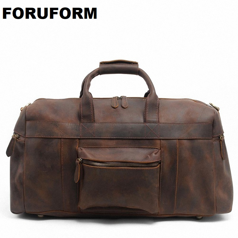 2018 Vintage Crazy Horse Genuine Leather Travel Bag Men Duffle Bag Luggage Travel Bag Leather Large Weekend Bag Tote Big LI-1088 crazy horse genuine leather men travel bag large handbag vintage duffel bag men messenger shoulder bag tote luggage bag