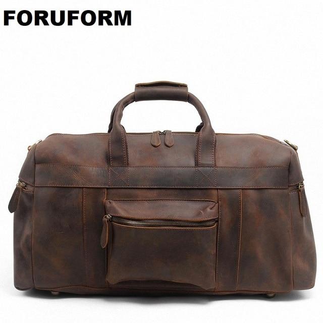 bc97e3e4ec 2018 Vintage Crazy Horse Genuine Leather Travel Bag Men Duffle Bag Luggage  Travel Bag Leather Large