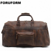 2018 Vintage Crazy Horse Genuine Leather Travel Bag Men Duffle Bag Luggage Travel Bag Leather Large Weekend Bag Tote Big LI 1088
