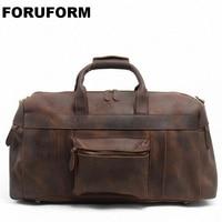 2018 Vintage Crazy Horse Genuine Leather Travel Bag Men Duffle Bag Luggage Travel Bag Leather Large Weekend Bag Tote Big LI 1088