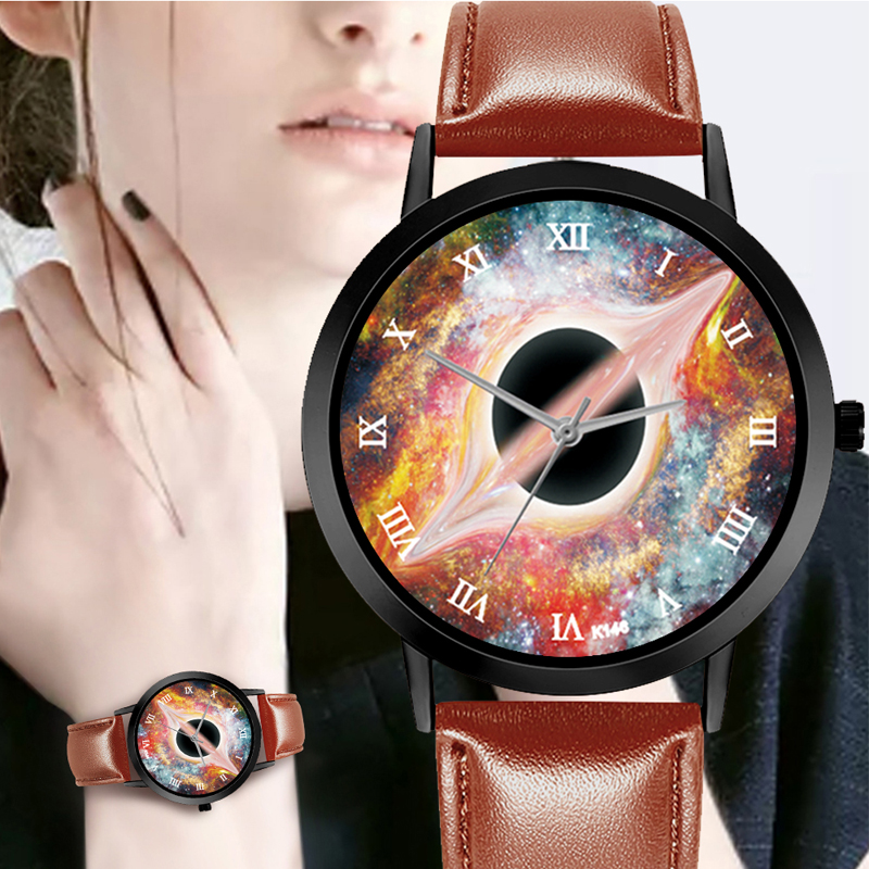 Creative Black Hole Watch Casual Quartz Space Leather Strap Astronomy Planets Unisex Classy Analog Watches Montre Femme