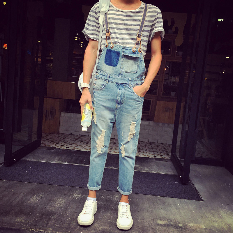 ФОТО Men Ripped Light Blue Denim Overalls New 2017 Distressed Male Bib Jeans Garment Washed Korean Fashion Free Shipping