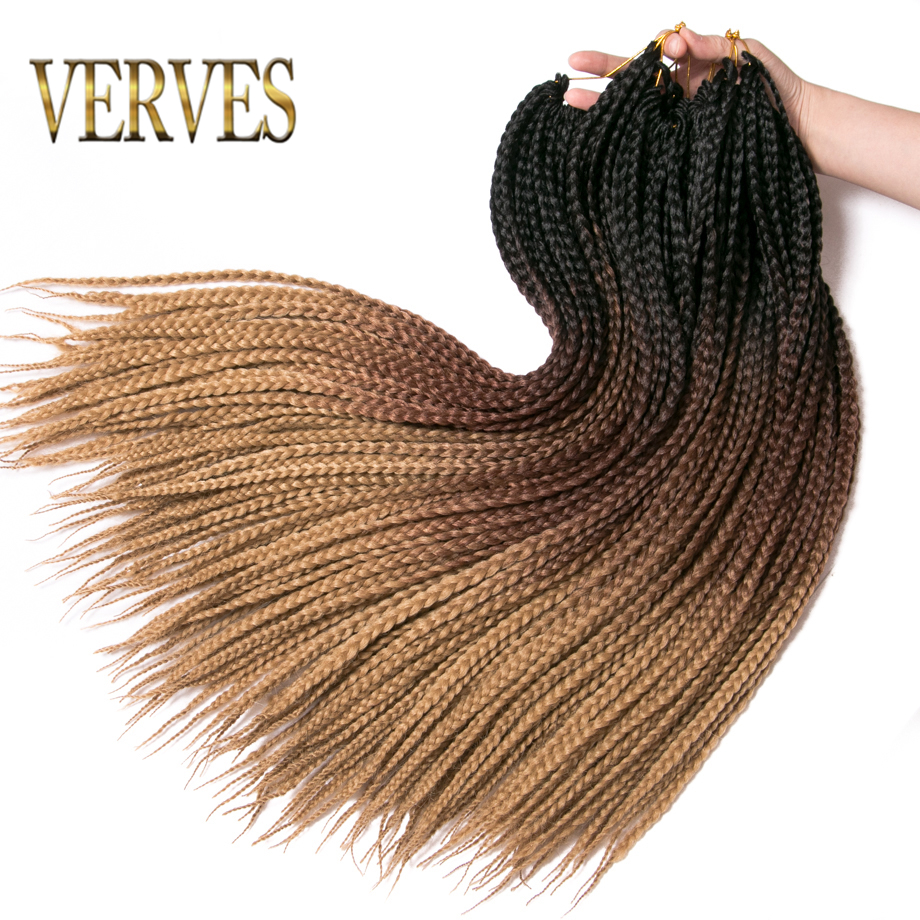 VERVES Crochet braids 24 inch box braid 22 Roots/pack Ombre Synthetic Braiding Hair extension Heat Fiber Bulk braid pink,black(China)