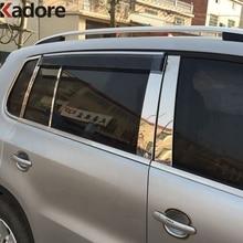 Для Volkswagen Tiguan 2009-2013 нержавеющая сталь дверь окно столб пост центр B столб Накладка защита автомобиля Стайлинг