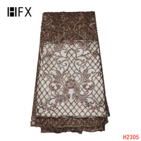 HFX latest 2019 Hot sell brown gold African 3D embroidered mesh lace luxury handmade beaded fabrics for wedding dress H2305
