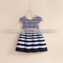 &E-babe& Wholesale New Summer Baby Kids Striped Dress Toddlers Party Casual Vestidos Girls Clothes 10 Pcs Lots Free Shipping