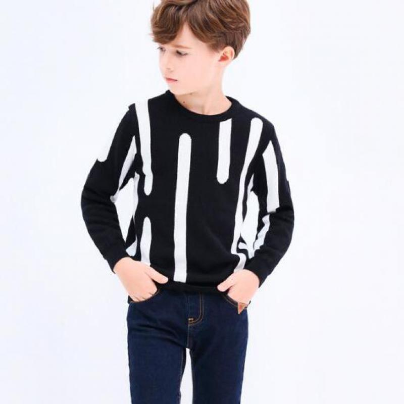 2018 Boys Sweater O-neck Warm Outerwear Baby Boys Striped Sweater Autumn Winter Knitted Pullovers Children Clothing Kids Clothes 2018 autumn winter knitted sweaters pullovers warm sweater baby girls clothes children sweaters kids boys outerwear coats