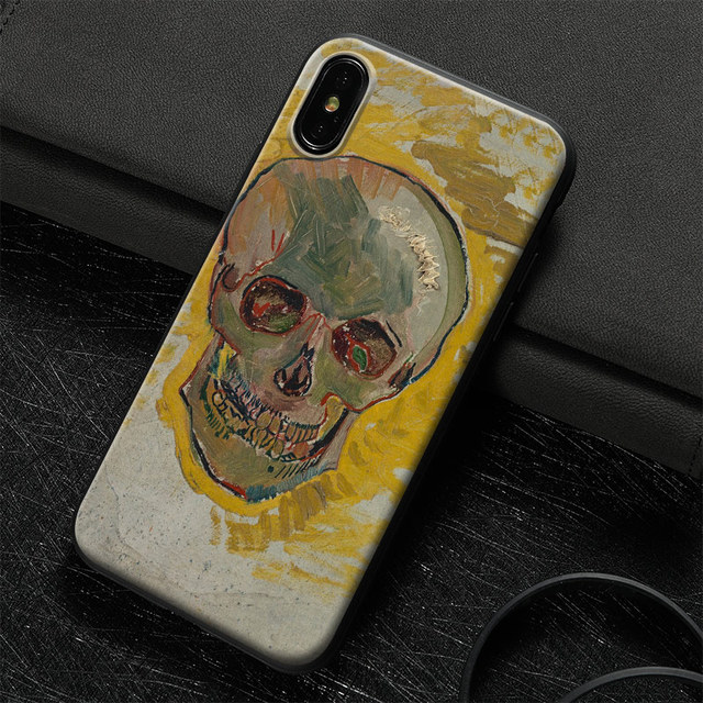 3D VAN GOGH SKULL LUXURY TEMPERED GLASS IPHONE CASE