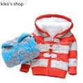 Мальчиков и девочек зимой Свитер Теплый флис подкладка Моды толщиной с капюшоном куртки детская полосатый пиджак