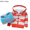 Boys and girls winter Sweater baby  Warm fleece lining  Fashion thick hooded jacket Children's striped jacket