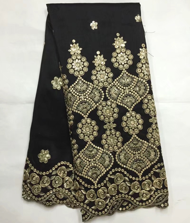Free shipping 5yards/pc wonderful gold sequins embroidered African george lace fabric in black gold  for party dress  GLB04Free shipping 5yards/pc wonderful gold sequins embroidered African george lace fabric in black gold  for party dress  GLB04