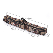 Camouflage Two-Layer Nylon Fishing Bag Multi-Purpose Large Capacity 1.2M Double Layer Fishing Rod Tackle Bag Fishing Equipment