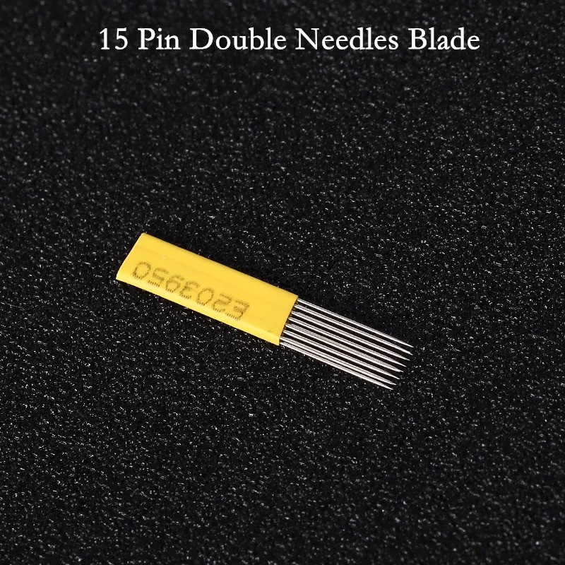 50 pcs 15 Pin Double Needles Blade For Permanent Eeybrow