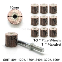 10 Pcs /lot 10 X 10 X 3mm Sanding Flap Disc Grinding Flap Wheels Brush Sand Rotary Tool Accessories For Abrasive Tools