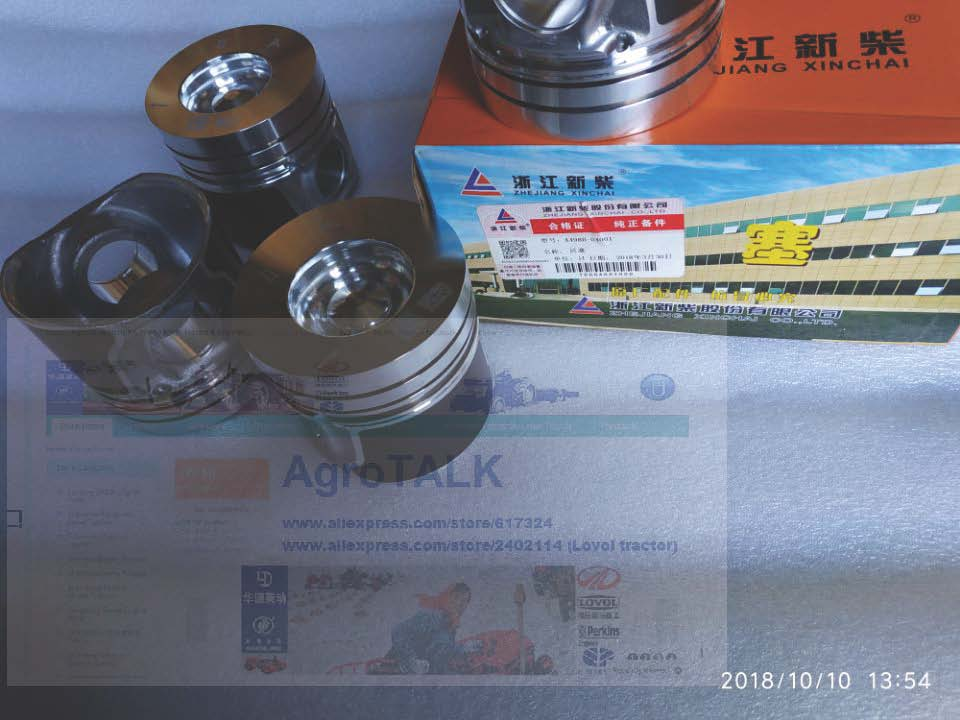 Zhejiang Xinchai A498BT, the set of pistons with piston pins for one engine, part number: