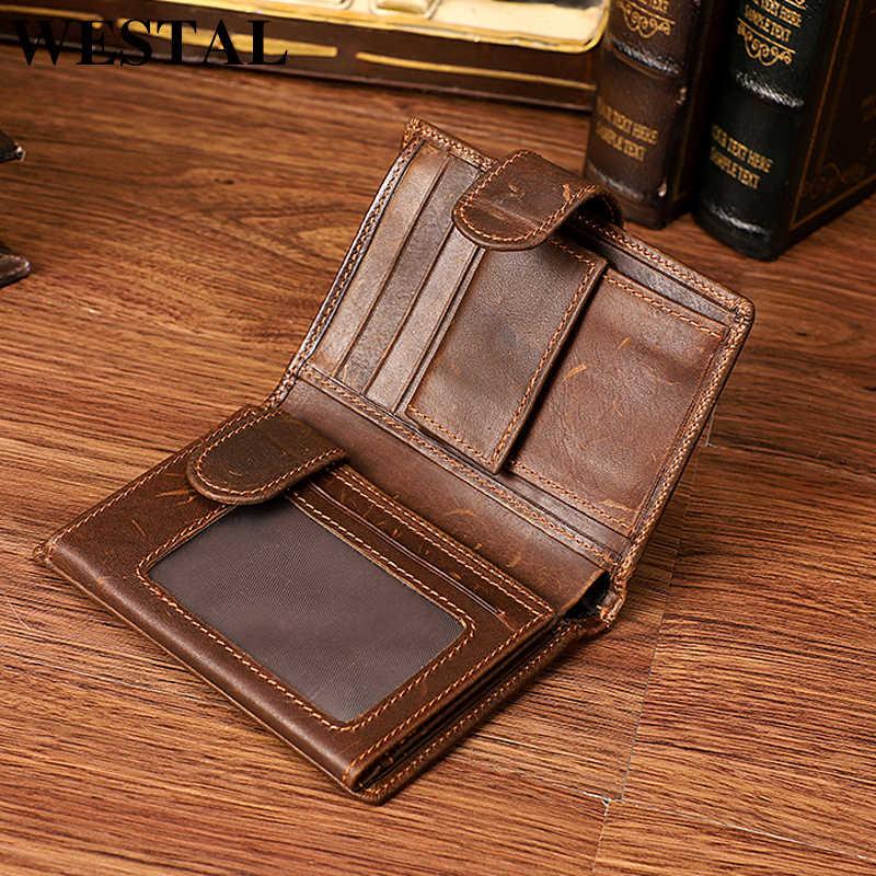 37a752cc48fd WESTAL RFID пояса из натуральной кожи короткие для мужчин бумажник воловьей  Walet женские кошельки Мужской Портмоне