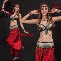 Танец живота костюм черный academia roupas feminina S/M/L цыганские одежды 3 шт. (бюстгальтер + талии уплотнение + dress) танец живота костюм