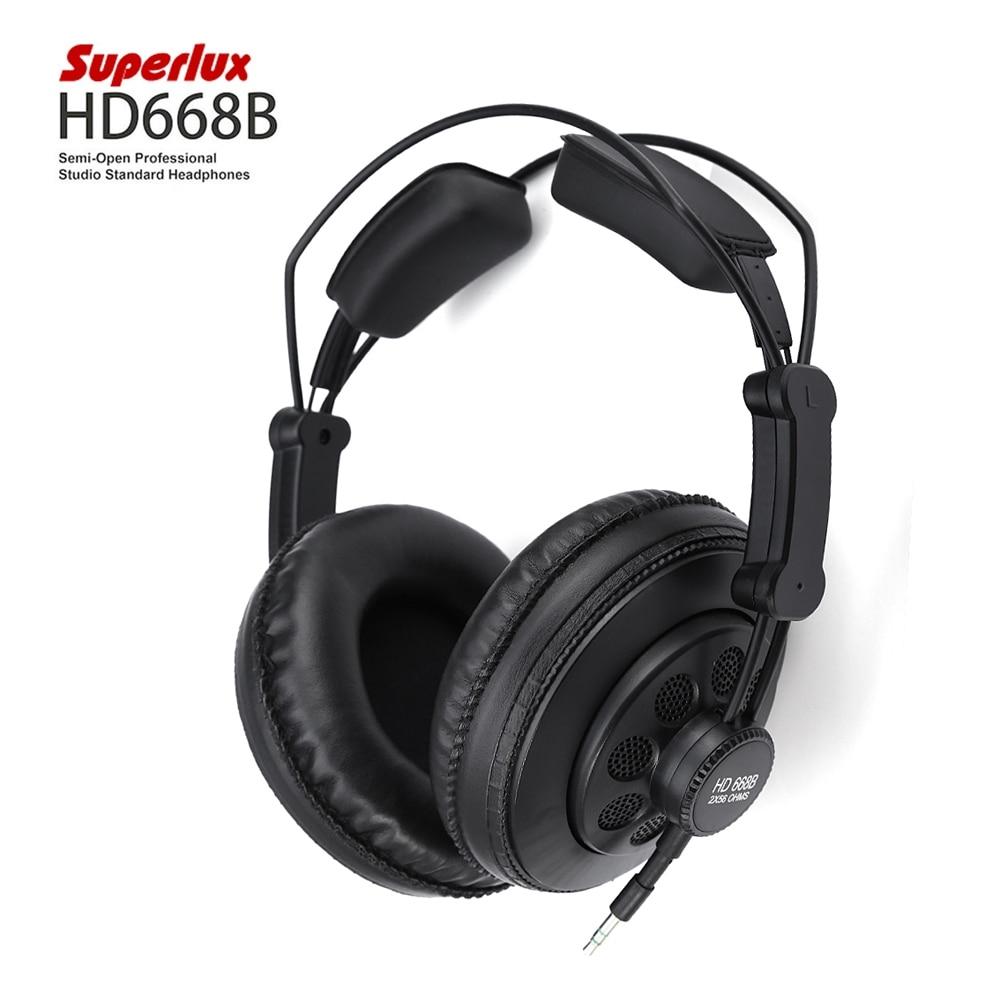 Original Superlux HD668B Semi-open Professional Studio Standard Monitoring Dynamic Headphones For Music Detachable Audio Cable superlux hd 562 omnibearing headphones noise canceling monitoring rotatable
