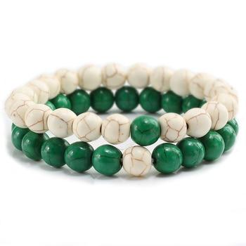 2Pcs/set Couple Distance Beaded Bracelet Natural Stone Strand Bracelets Homme Charm Yoga Jewelry Gifts for Women Men Best Friend 3