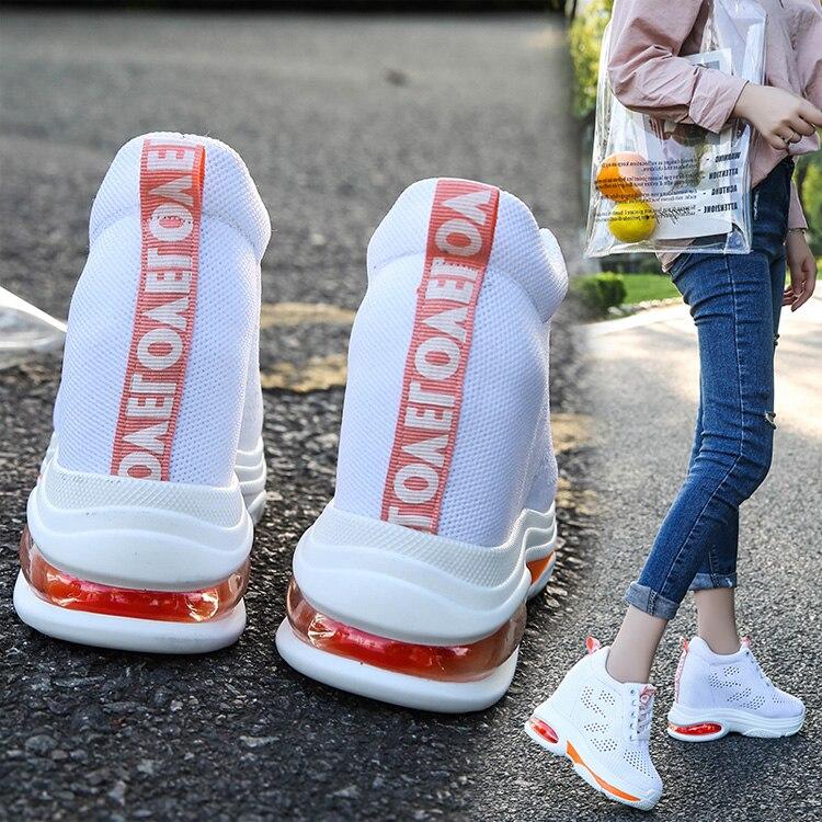 blanc Augmenter Épais Coréenne De Noir Sauvage Voyage Plate Maille Sport Nouveau Des forme Chaussures Mode Femmes fHtnZZ