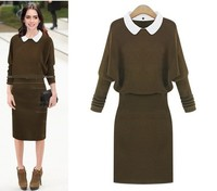 Free Shipping Good Quality Winter New Arrival Western Style Hot Sale High Waist Knitting Slim Dress