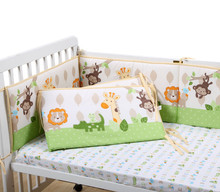 цена на Monkey Giraffe Lion Cotton Soft Baby Crib Cot bumpers Set Breathable for Newborn Safety Fence Baby Bumpers Bedding Accessories
