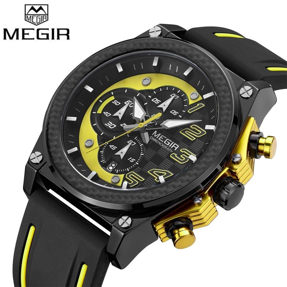 MEGIR Mens Sport Watch Top Brand Luxury Quartz Wristwatch Silicone Army Military Watches Clock Men Chronograph Relogio Masculino mens watches top brand luxury jedir quartz watch chronograph luminous clock men military sport wristwatch relogio masculino