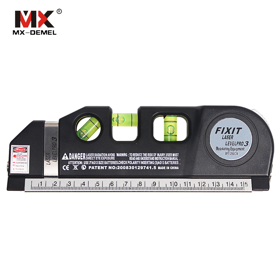 MX DEMEL Laser Level Horizon Vertical font b Measure b font 8FT Aligner Standard Metric Rulers