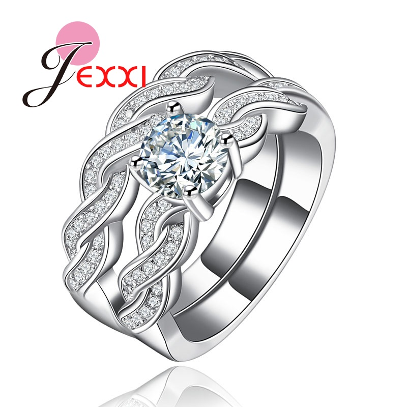 JEXXI Luxury Wedding Jewelry 925 Sterling Silver Stackable Ring Set AAA Zircon CZ Diamond Infinite Jewelry Rings for Female