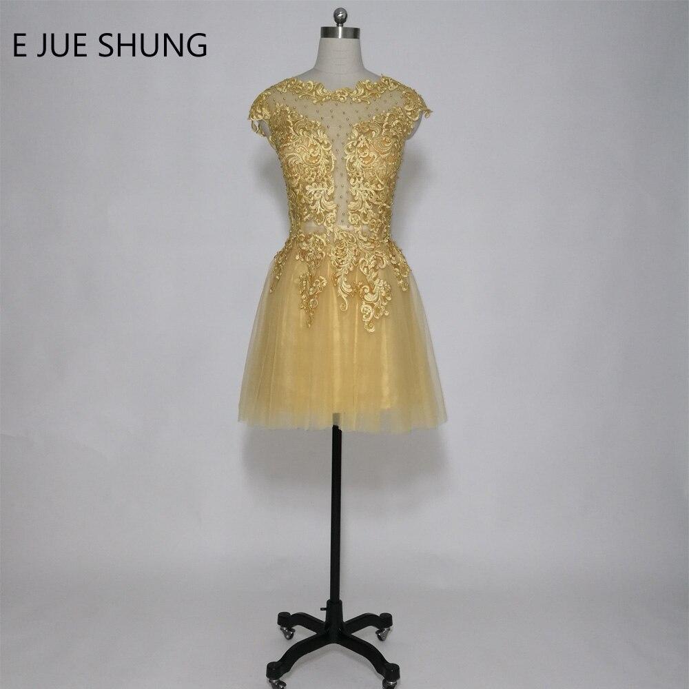 E JUE SHUNG Gold Vintage Lace Appliques Short   Cocktail     Dresses   2017 Pearls Short Prom Party   Dresses   robe de   cocktail