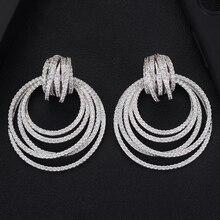 52mm Big Luxury Twist Circle Dangle Earrings For Women Wedding Cubic Zircon Crystal CZ Dubai Bridal Earring Fashion Jewelry 2019