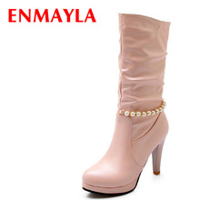 Wedding Beading Round Toe Mid-Calf Boots Women Big Size34-42 Platform Pink White Black Winter High New