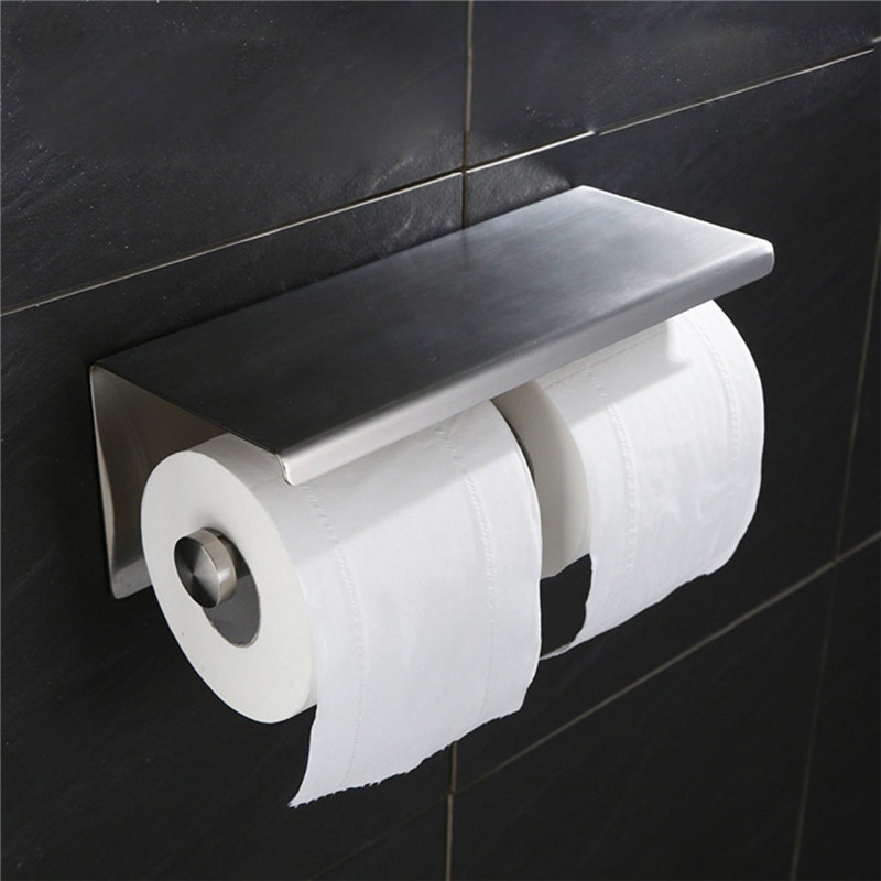 Shelf Paper Toilet Brushed Steel Mobile Leyden with Bathroom Stainless Holder  Nickel Phone Double Mounted Accessory Wall 4