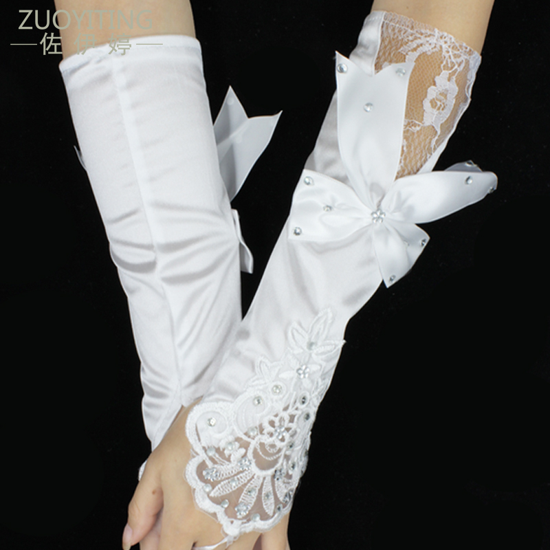 ZUOYITING White Lace Princess Bridal Gloves with beaded Fashion Female Long Design Wedding Dresses Gloves Wedding Accesoties