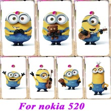 Minions Phone Covers Cases For Nokia Lumia 520 N520 525 526 Cases Anti-Scratch Cute Cartoon Protective Bag Plastic Durable Shell(China (Mainland))