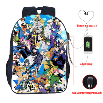 JoJo's Bizarre Adventure Backpack JoJo No Kimyou Na Bouken Jotaro Men Women Boys Girls USB Charging Backpacks School Bags
