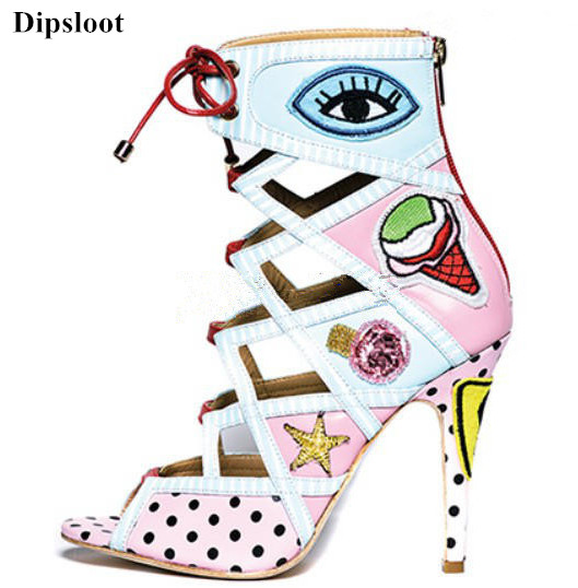 Dipsloot 2018 Fashion Mixed Color Dot&Eyes Print High Heels Dress Shoes Woman Peep Toe Gladiator Sandals Female Lace-up Shoes