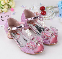 Pearl Crystal Bowtie Sandals Princess Girls Brand Shoes Kids Girl Shoes Summer Dress Sandals Shoes High