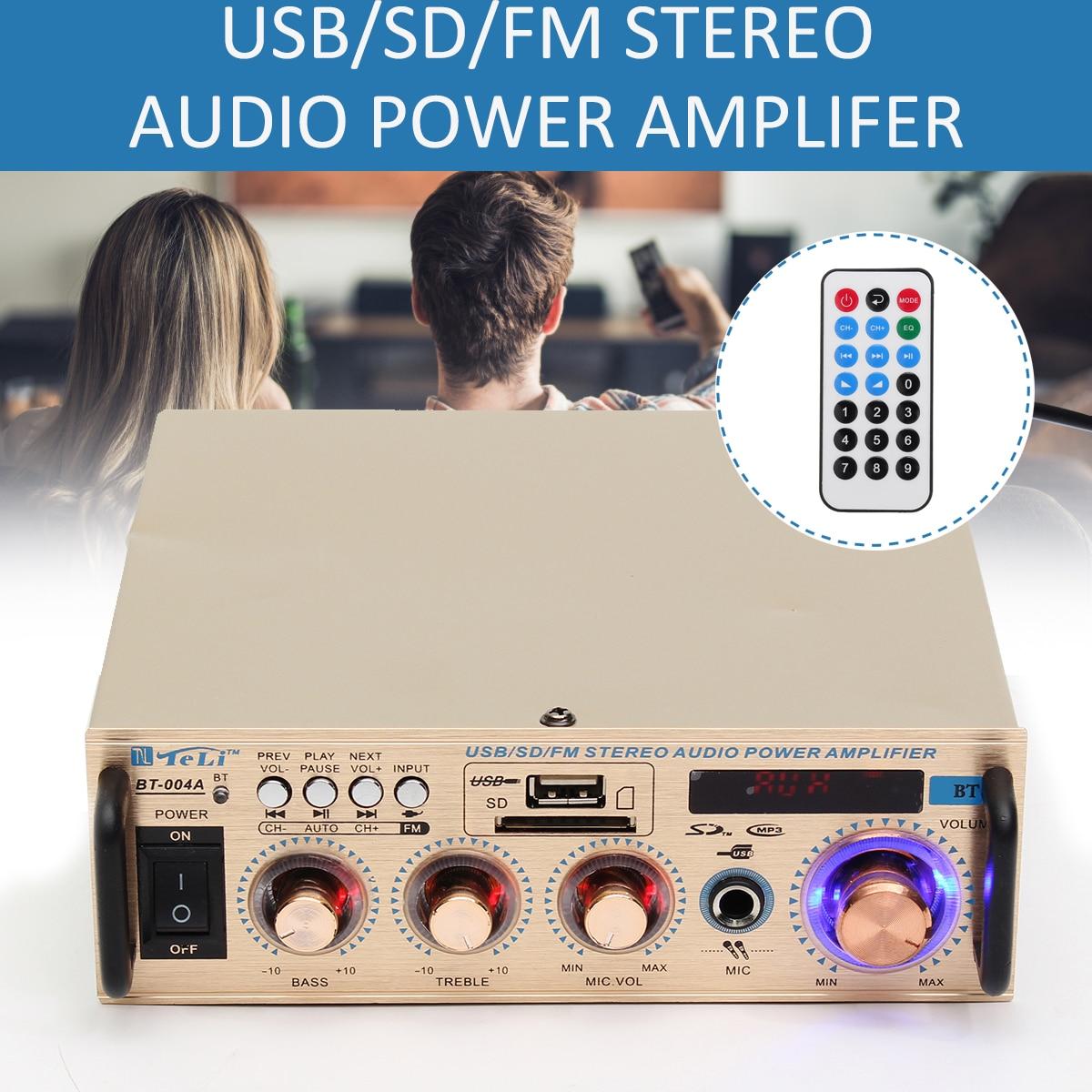 100W Car Amplifiers Audio Wireless Bluetooth 12V/ 220V Stereo Power Amplifier Home Theater Amplifiers Audio Music Player 300w 300w 2 channel hifi audio stereo power amplifier bluetooth fm radio car home theater amplifiers music player