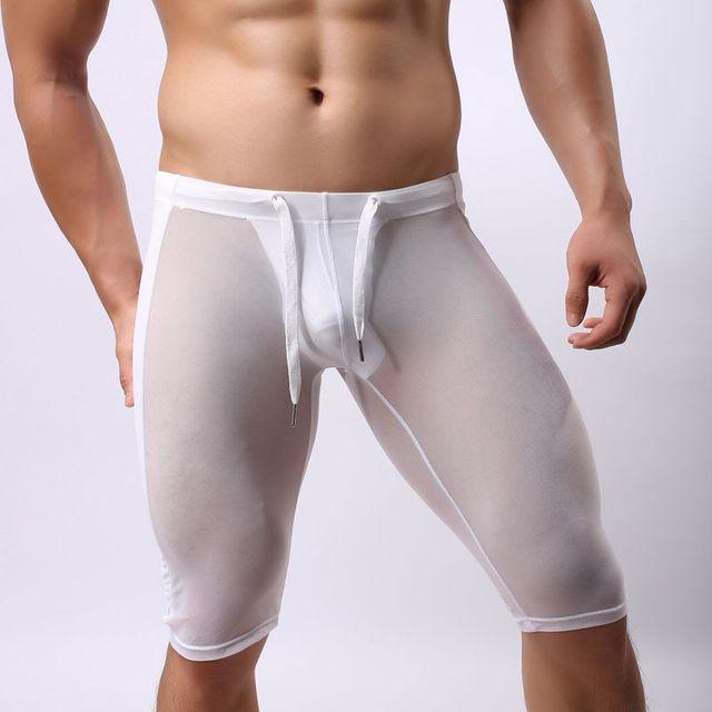 Pessoa corajosa masculinos sexy transparente elástica apertada close-fitting shorts calças de fitness homens undwear cinto de malha para homens