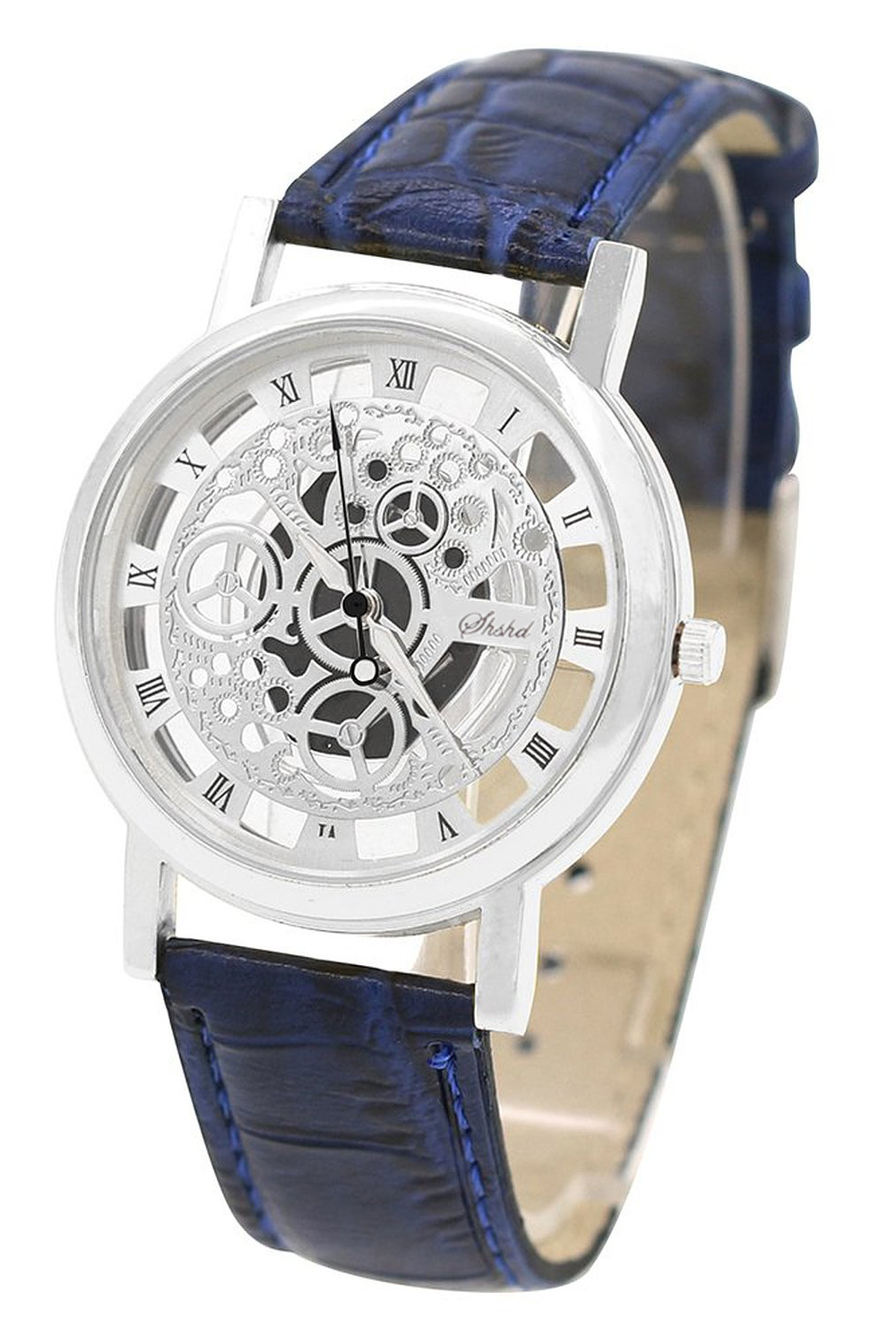 YCYS!(Blue Strap & Silver Dial) Mens Faux Leather Band Wrist Skeleton WatchYCYS!(Blue Strap & Silver Dial) Mens Faux Leather Band Wrist Skeleton Watch