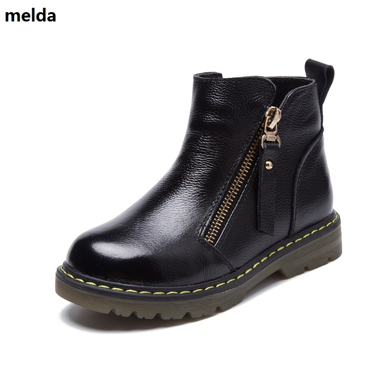 New Kids Winter Genuine Leather Shoes Boys And Girls Fashion Plush Cow Muscle Bottom Boots Girls Autumn Solid Waterproof Shoes