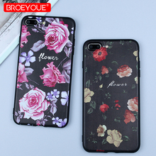 hot deal buy broeyoue phone case for iphone 7 plus 8 plus flowers cases relief black luxury back cover for iphone 7 8 plus shockproof cases