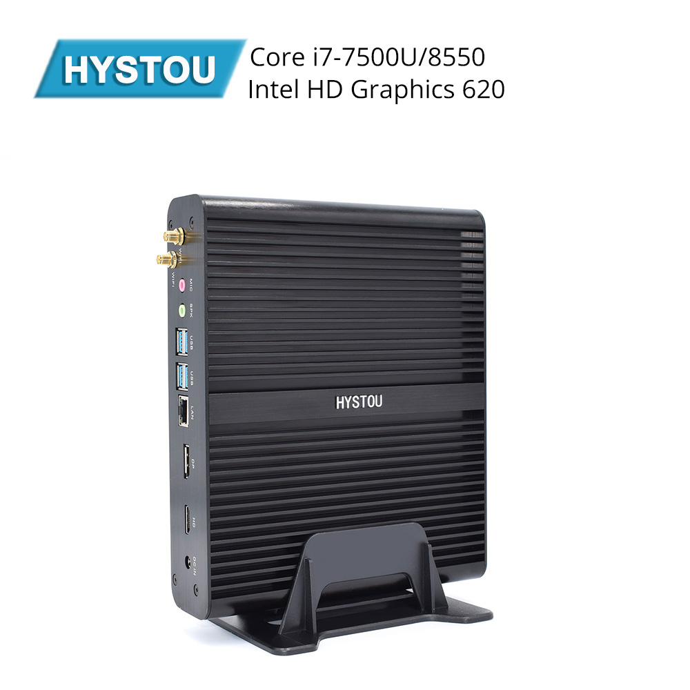 HYSTOU Fanless Mini PC 8th Gen I7 8565U Quad Core 2*DDR4 M.2 Mini Computer Windows 10 Pro DP HDMI HTPC Nettop Desktop Computer