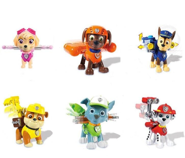 6pcs/set  Canine Patrol Dog Toys Russian Anime Doll Action Figures Car Patrol Puppy Toy Patrulla Canina Juguetes Gift for Child model anime puppy pow patrol dog action figures back to power car with light and music puppy patrulla canina toy baby kids toys
